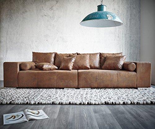 XXL-Couch-Marbeya-Braun-280x115-cm-Antik-Optik-Hocker-und-Kissen-0