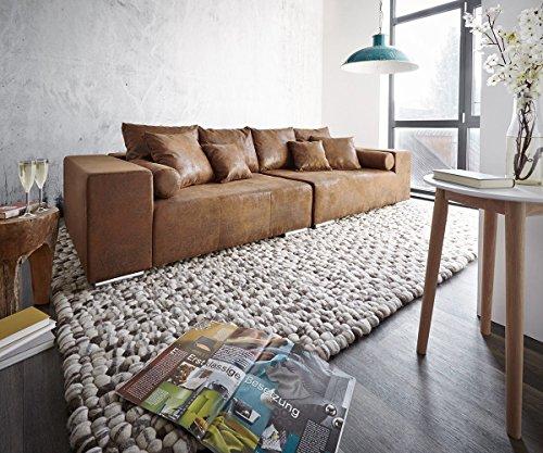 XXL-Couch-Marbeya-Braun-280x115-cm-Antik-Optik-mit-Kissen-Bigsofa-0