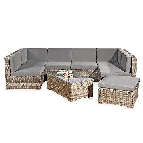 xxl rattanm bel gartenset grau aus polyrattan lounge. Black Bedroom Furniture Sets. Home Design Ideas