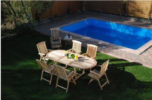 XXS-Mbel-Gartenmbel-Set-Aruba-XL-9tlg-Teak-Holz-pflegeleicht-Holz-Tisch-ausziehbar-mit-Schirmloch-sechs-Klappsthle-Aruba-und-Deckchair-Puccon-praktischer-Klapptisch-pflegeleicht-0
