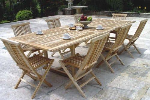 XXS-Mbel-Gartenmbel-Set-Caracas-9tlg-acht-praktische-Klappsthle-Menorca-und-ein-Tisch-Kuba-ausziehbar-hochwertiges-Teak-Holz-sehr-pflegeleicht-0