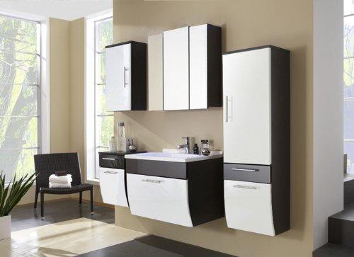 XXS® Möbel Set 5B Salona komplett Badezimmer anthrazit Front weiß MDF hochglanz 70 cm Waschplatz Mineralgussbecken