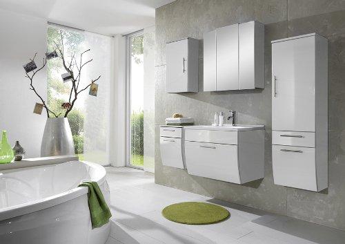 XXS® Möbel Set 5B Salona komplett Badezimmer weiß Front MDF hochglanz 70 cm Waschplatz Mineralgussbecken