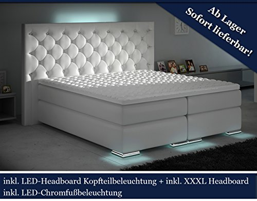 XXXL Boxspringbett Designer Boxspring Bett LED Chesterfield (Weiß, 180x200)