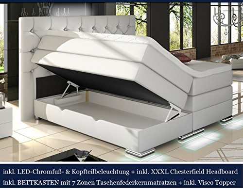 xxxl mailand boxspringbett mit bettkasten designer boxspring bett chesterfield led weiss. Black Bedroom Furniture Sets. Home Design Ideas