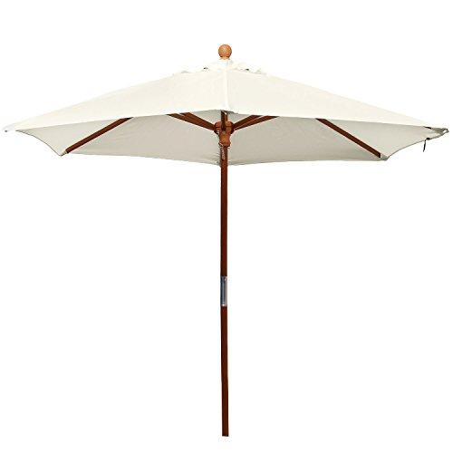 anndora® 21001VS–Sonnenschirm Standard, 2,1m, rund, Garten oder Balkon, aus Holz, 180g/m², Wärme wählbar