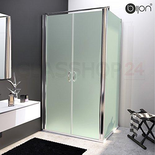 bijon® Design Glas Eckdusche mit Pendeltür | Nano | Mattglas | 90 x 195cm + Seitenwand 120 x 195cm