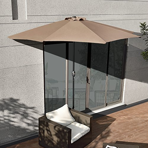 [casa.pro] Halb-Sonnenschirm (Ø300cm) (zweifarbig) Kurbel - Schirm / Marktschirm / Gartenschirm / Halbrund