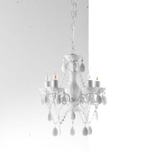 """design4home - Retro moderner Acrylglas Design Kronleuchter """"ARTE WEISS"""" 5 armig, Höhe: 42 cm, Durchmesser: 38 cm"""
