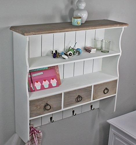 elbmöbel Wandregal aus Holz in braun weiß mit Haken und Schubladen im Landhaus-Stil