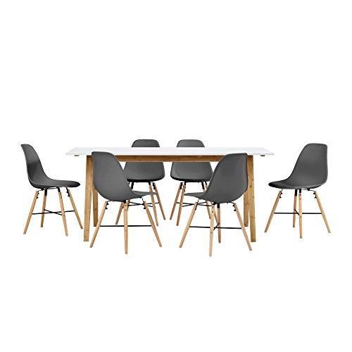 encasa-Esstisch-Bambus-wei-mit-6-Sthlen-grau-180x80cm-Esszimmer-Essgruppe-Kche-0