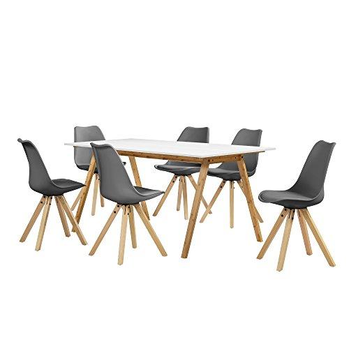 encasa-Esstisch-Bambus-wei-mit-6-Sthlen-grau-gepolstert-180x80cm-Esszimmer-Essgruppe-Kche-0