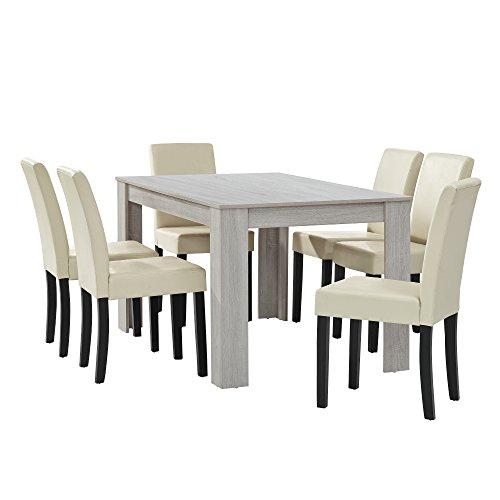 [en.casa] Esstisch Eiche weiß mit 6 Stühlen creme Kunstleder gepolstert 140x90 Essgruppe Esszimmer