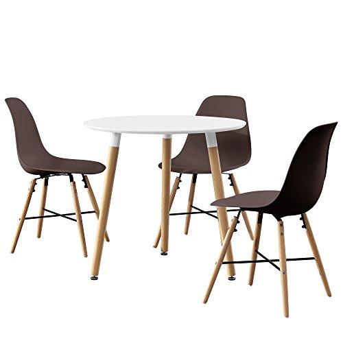 [en.casa] Esstisch rund weiß [Ø80cm] mit 3 Stühlen braun Esszimmer Essgruppe Küche