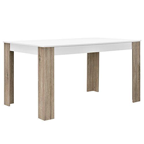encasa-Esstisch-wei-Eiche-Optik-140x90-Tisch-Esszimmer-Kchentisch-rechteckig-Retro-0