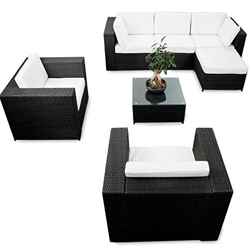 erweiterbares-21tlg-XXL-Polyrattan-Garten-Lounge-Mbel-Ecksofa-schwarz-Gartenmbel-Sitzgruppe-Garnitur-Lounge-Ecke-inkl-Lounge-Sessel-Ecke-Hocker-Tisch-Kissen-0