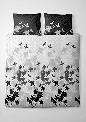 etérea Renforcé Baumwolle Bettwäsche Osaka Schmetterlinge Grau Anthrazit, 155x220 cm