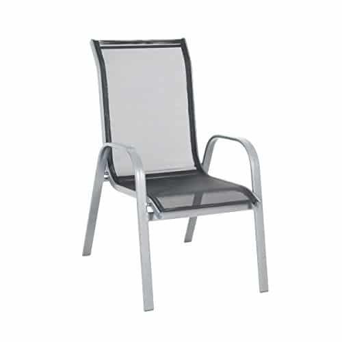 greemotion-Alu-Gartenstuhl-Prag-stapelbar--Stapelstuhl-aus-Aluminium-in-Silber-mit-Textilene-Auflage-in-Schwarz--Design-Gartensessel-zum-Stapeln--Lounge-Stapelsessel-Garten-Terrasse-0