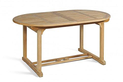 großer Gartentisch aus Teakholz, oval, ausziehbar