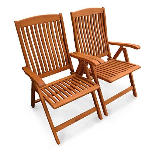 indoba® IND-70002-ST - Serie Sun Flair - 2 x Gartenstuhl aus Holz FSC zertifiziert - fünffach verstellbar, klappbar - 2 Stück