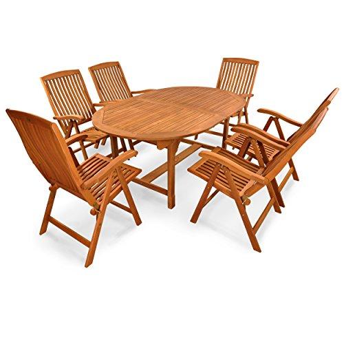 indoba® IND-70010-SFSE7 - Serie Sun Flair - Gartenmöbel Set 7-teilig aus Holz FSC zertifiziert - 6 klappbare Gartenstühle + ausziehbarer Gartentisch