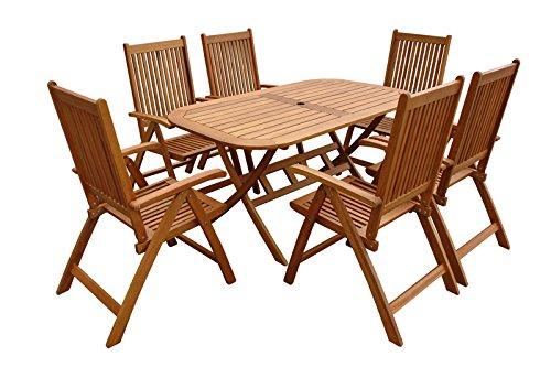 indoba® IND-70064-BASE7 - Serie Bangor - Gartenmöbel Set 5-teilig aus Holz FSC zertifiziert - 6 Gartenstühle verstellbar und klappbar + ovaler Gartentisch ausklappbar