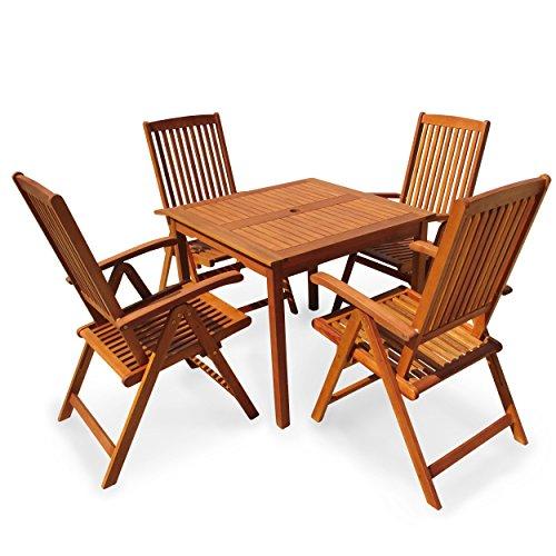 indoba® IND-70299-SSSE5Q - Serie Sun Shine - Gartenmöbel Set 5-teilig aus Holz FSC zertifiziert - 4 Gartenstühle verstellbar und klappbar + quadratischer Gartentisch mit Schirmöffnung