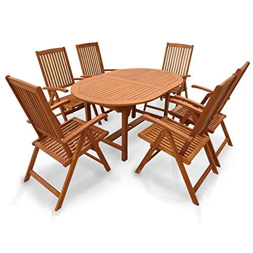 indoba® IND-70310-SSSE7 - Serie Sun Shine - Gartenmöbel Set 7-teilig aus Holz FSC zertifiziert - 6 Gartenstühle verstellbar und klappbar + ovaler ausziehbarer Gartentisch mit Schirmöffnung