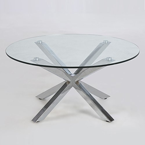 lounge-zone Design Couchtisch STAR, Glas, Chrom, 82cm 12830