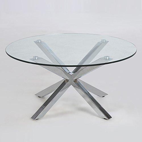 Lounge zone design couchtisch star glas chrom 82cm for Design couchtisch glas chrom