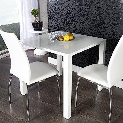 lounge-zone Esstisch LUCILLE Hochglanz weiß 80x75x80cm 13322