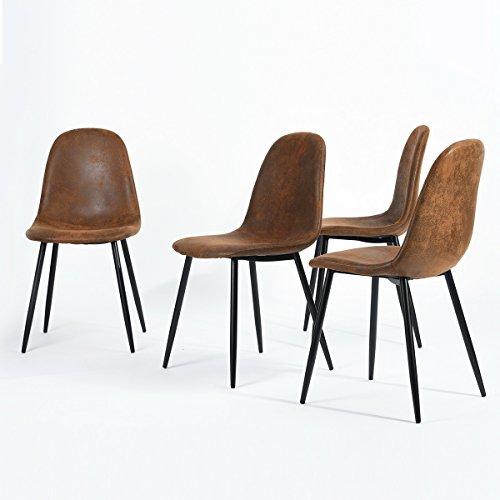 nbf-Set-aus-4-Sthlen-skandinavischen-braun-Esszimmer-Sthle-Vintage-Kche-in-suede-Leder-braun-0