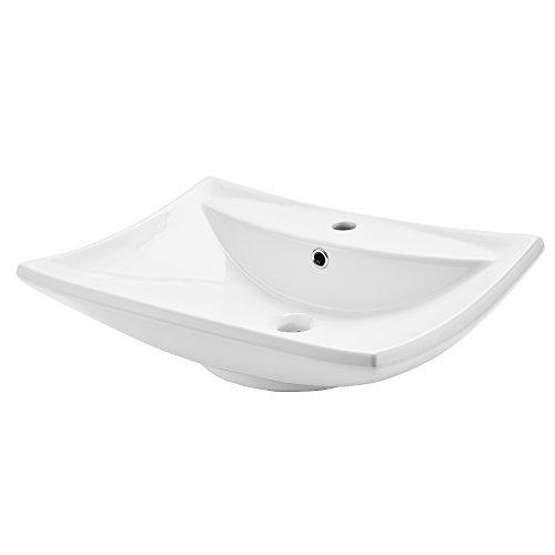 [neu.haus] Waschbecken aus Keramik [61x44cm] weiß zur Wandmontage Gäste-WC
