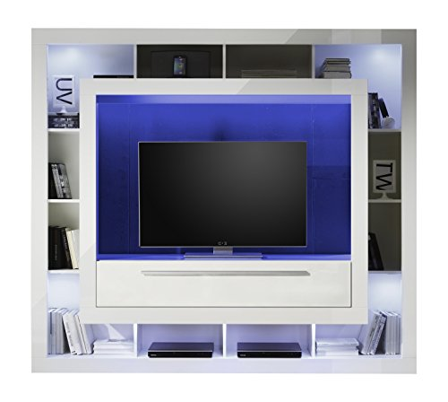 Trendteam mx89301 wohnwand tv m bel weiss hochglanz bxhxt - Wohnwand mit soundsystem ...