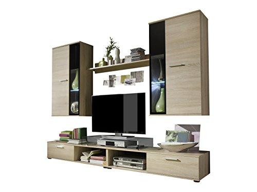 trendteam sa wohnwand wohnzimmerschrank anbauwand eiche. Black Bedroom Furniture Sets. Home Design Ideas