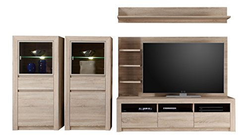 trendteam sv96345 wohnwand wohnzimmerschrank eiche sonoma hell bxhxt 312x156x51 cm 0 m bel24. Black Bedroom Furniture Sets. Home Design Ideas