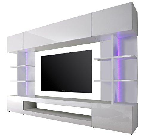 trendteam tre96101 wohnwand wohnzimmerschrank weiss hochglanz bxhxt 261 x 168 x 37 cm m bel24. Black Bedroom Furniture Sets. Home Design Ideas