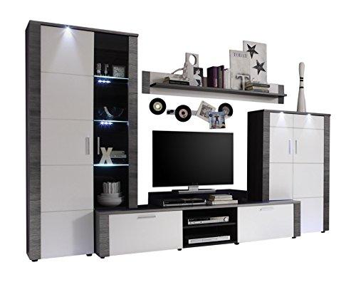 trendteam XP98710 Wohnwand Anbauwand Wohnzimmerschrank Xpress Esche grau Nachbildung und Fronten in weiß Nachbildung, 308 x 197 x 51 cm