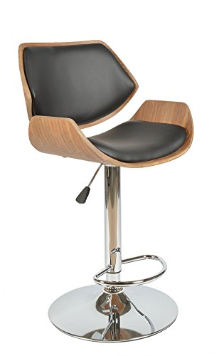 ts-ideen 1 x Barhocker Retro Design Chill Lounge Barsessel Stuhl Holz Sitz in Schwarz
