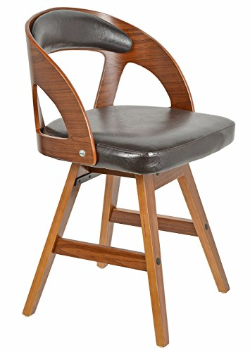 ts-ideen 1 x Drehstuhl Retro Design Chill Lounge Bar-Sessel Stuhl Holz Glanz Braun
