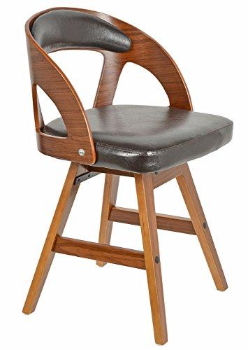 ts-ideen 1 x Drehstuhl Retro Design Chill Lounge Bar-Sessel Stuhl Holz Glanz Braun