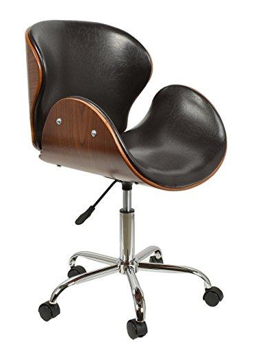 ts-ideen 1 x Schreibtischstuhl Drehsessel Retro Design Rollen Lounge Barsessel Büro-Stuhl Clubsessel in Schwarz