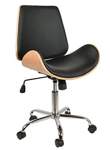 ts-ideen 1 x Schreibtischstuhl Drehsessel Retro Design Rollen Lounge Barsessel Büro-Stuhl Clubsessel in Schwarz Natur