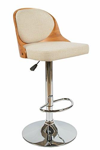 ts-ideen 1x Design Club Barhocker Barstuhl Küchen Esszimmer Stuhl Sitz in Beige + Holz