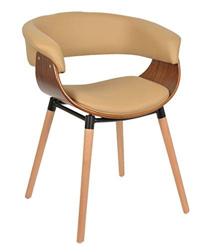 ts-ideen 1x Design Club Stuhl Barstuhl Küchen Esszimmer Stuhl Sitz in Hellbraun