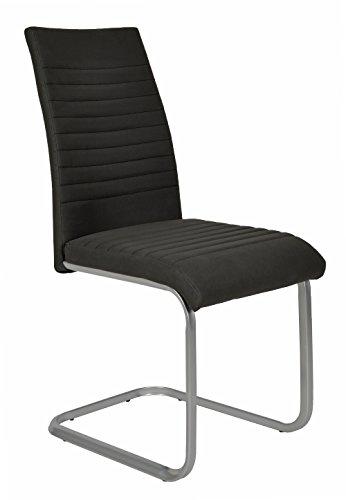 ts-ideen 1x Design Wohnzimmer Esstisch Küchen Stuhl Esszimmer Sitz Stoff Metall in Schwarz