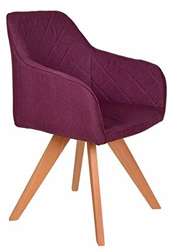 ts-ideen Lounge Design Sessel Barsessel Clubsessel Holz Lila Stoff Esszimmer-Stuhl