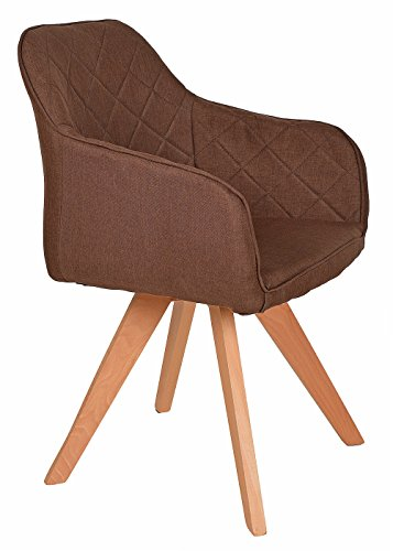 ts-ideen Lounge Design Sessel Barsessel Clubsessel Holz Stoff in Braun Esstisch-Stuhl