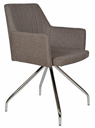 ts-ideen Lounge Design Sessel Barsessel Clubsessel Holz Stoff in Grau Esstisch-Stuhl