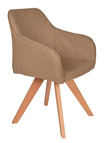 ts-ideen Lounge Design Sessel Barsessel Clubsessel Holz Stoff in Hell-Braun Esstisch-Stuhl